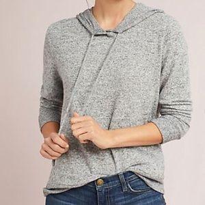 Anthropologie Gray Brushed Fleece Sweater Hoodie